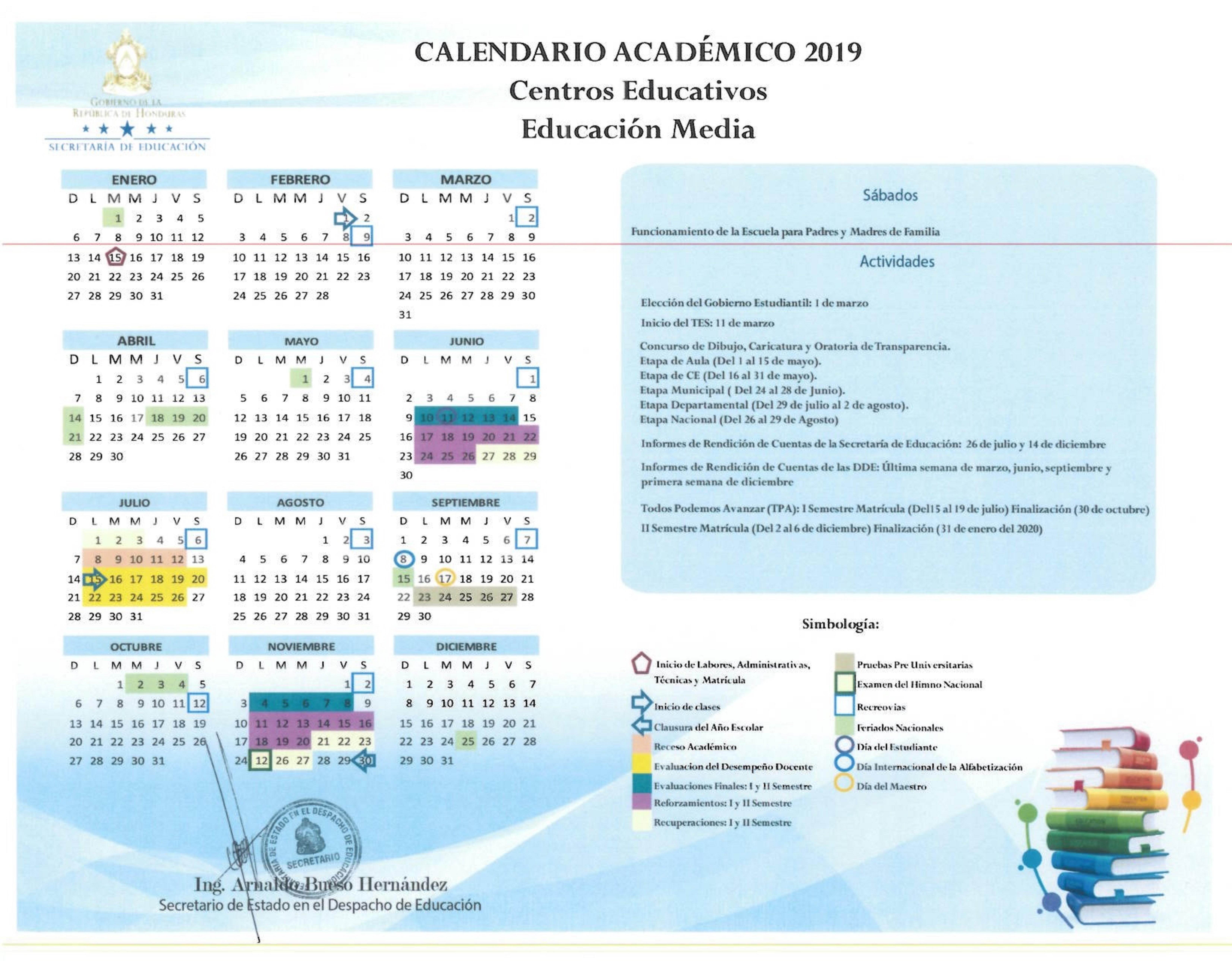 Calendario Con Semanas 2019 Para Imprimir.Se Calendario Academico